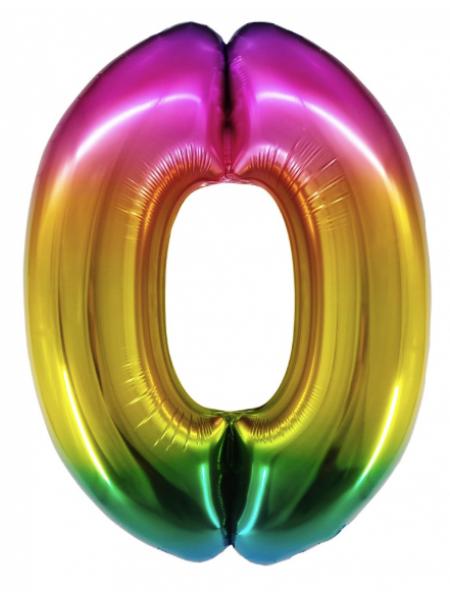 Радужная цифра 0 с гелием