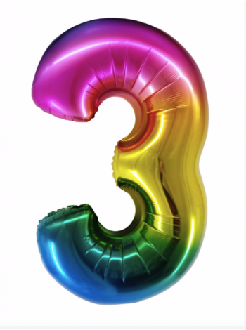 Радужная шар цифра три