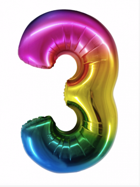 Радужная цифра 3 с гелием