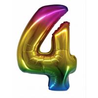 Радужная цифра 4 с гелием