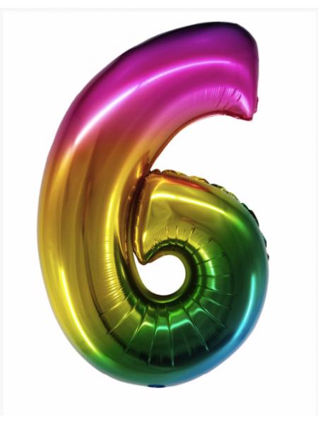 Радужная цифра 6 с гелием