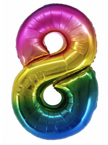 Радужная шар цифра восемь