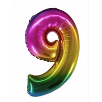 Радужная цифра 9 с гелием