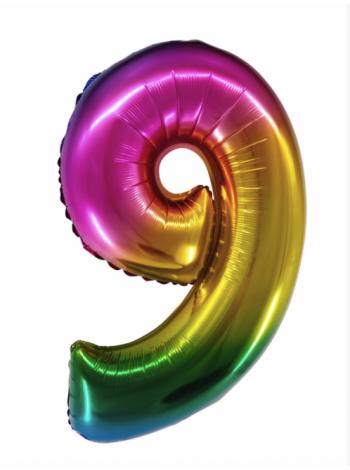 Радужная шар цифра девять
