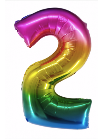 Радужная шар цифра два