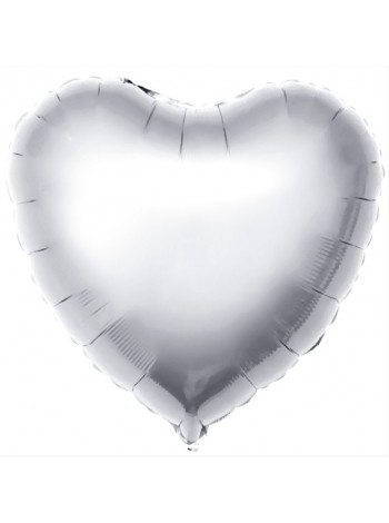 Сердце фольгированное с гелием СЕРЕБРО  46 см