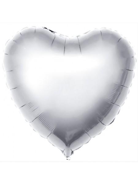 Сердце СЕРЕБРО с Гелием из фольги 46 см