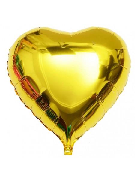 Сердце ЗОЛОТОЕ с Гелием из фольги 46 см