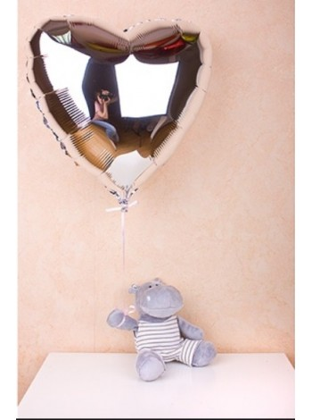 Сердце фольгированное с гелием СЕРЕБРО 91 см