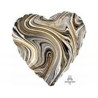 Сердце Мрамор Black с гелием 46 см