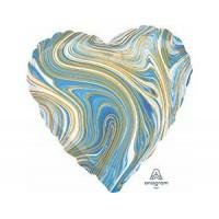Сердце Мрамор Blue с гелием 46 см
