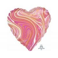 Сердце Мрамор Pink с гелием 46 см