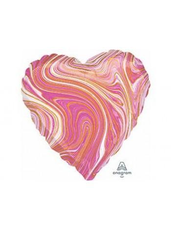 Шар сердце розовый мрамор с гелием