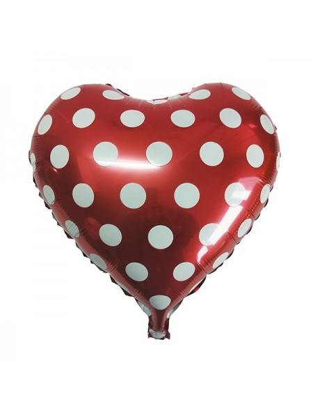 Сердце красное в горошек с гелием