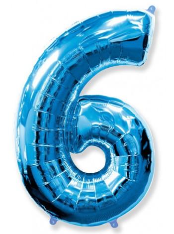 Синяя Цифра 6 / 91 см