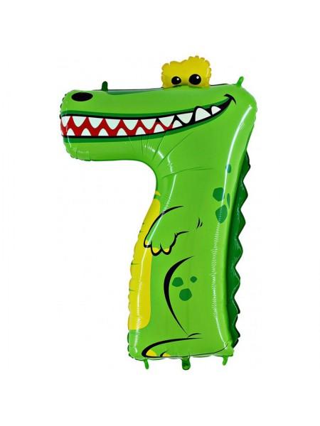 Шар цифра 7 Крокодил 103 см