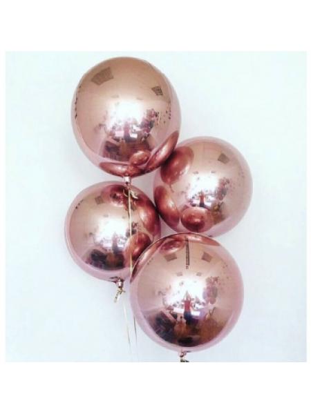 Сферы Розовое золото с гелием 1 шт