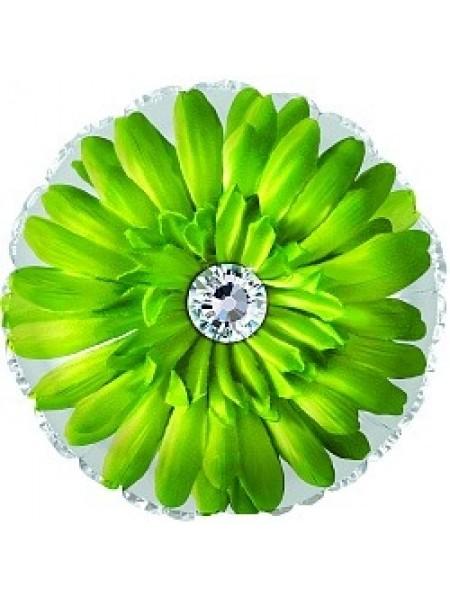 Шар с гелием и салатовым цветком