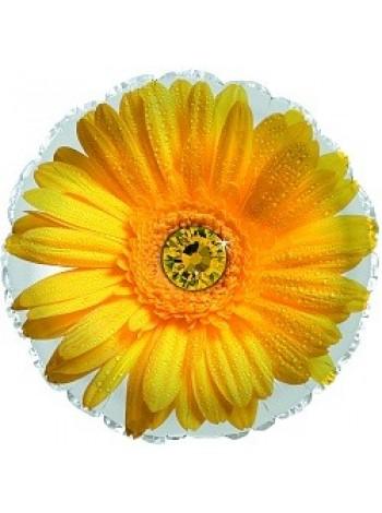 Шар круг с гелием и желтым цветком