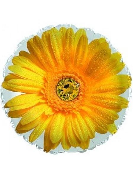 Шарик с гелием и желтым цветком 1 шт