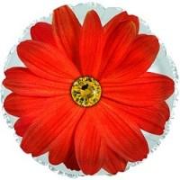 Шар с красным цветком и гелием 1 шт