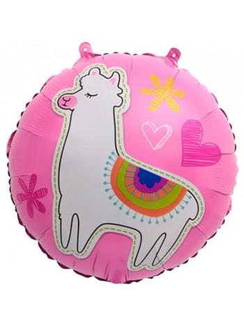 Лама Альпака розовый круг с гелием
