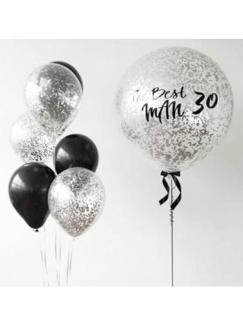Большой прозрачный шар с надписью и конфетти