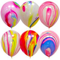 Мраморные воздушные шары с гелием (12''/30 см) - 6 Штук