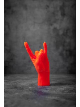 """Cвеча """"Rock"""" в форме руки (оранжевый цвет)"""