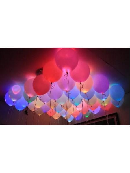 Светящиеся  Ассорти воздушные шары с гелием 1 шт