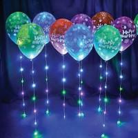 """Светящиеся воздушные шары на ленте """" С Днем Рождения"""" 1 шт"""