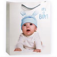 Пакет подарочный на рождение Малыша Мальчика, Белый, 31*42*12 см