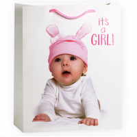 Пакет подарочный на рождение Девочки, Белый, 31*42*12 см