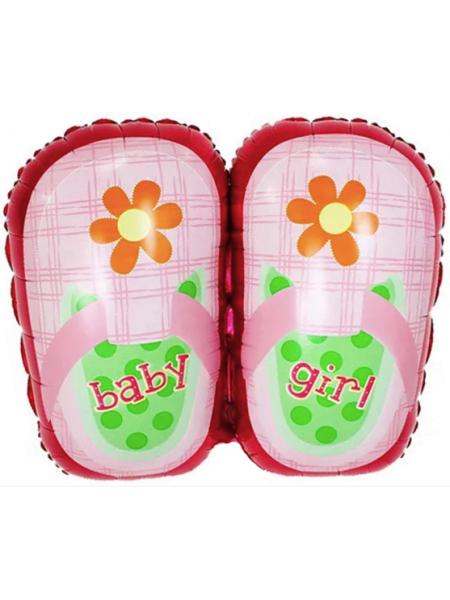Шар с гелием Туфельки для девочки, Розовый, 74 см, 1 шт.