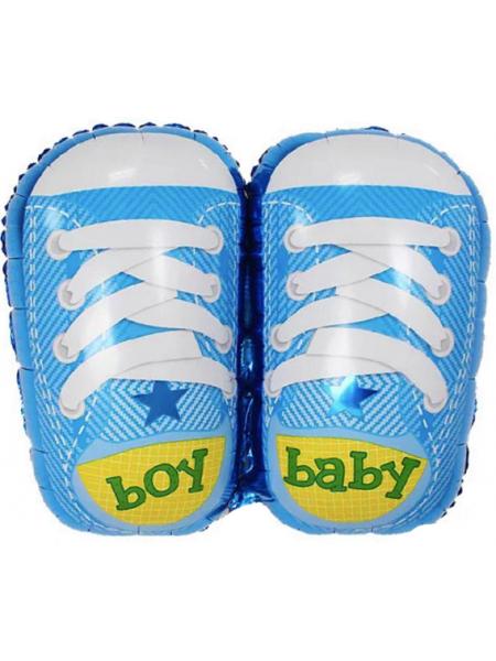 Фигура с гелием Ботиночки для мальчика, 74 см, Голубой, 1 шт.