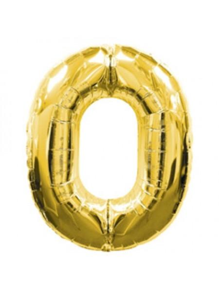Золотая шар Цифра с гелием 0 / 91 см