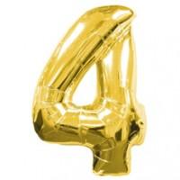 Золотая шар Цифра с гелием 4 / 91 см