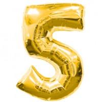 Золотая шар Цифра с гелием 5 / 91 см