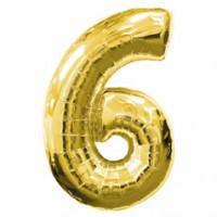Золотая шар Цифра с гелием 6 / 91 см