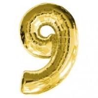 Золотая шар Цифра с гелием 9 / 91 см