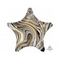 Звезда Мрамор Black с гелием 46 см