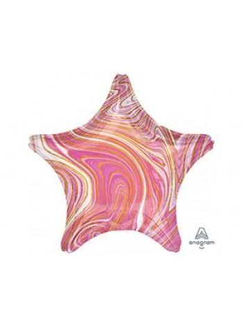 Шар звезда розовый мрамор