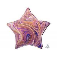 Звезда Мрамор Purple с гелием 46 см